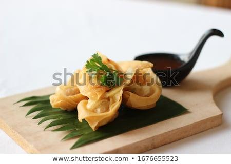 アジア · フライド · 皿 · 甘い · ソース · 竹 - ストックフォト © raptorcaptor