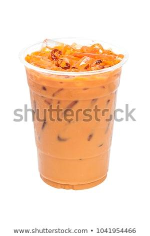 冷たい · ガラス · ミルク · コーヒー · アイスキューブ - ストックフォト © darkkong