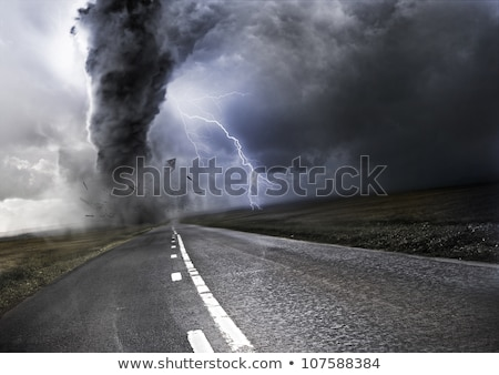 vidéki · út · sötét · viharfelhők · fű · természet - stock fotó © givaga