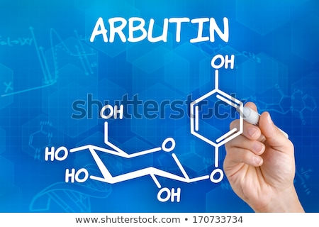 hand with pen drawing the chemical formula of arbutin stock photo © zerbor