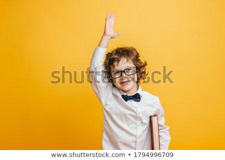かわいい · 男子生徒 · 読む · 図書 · 孤立した · 白 - ストックフォト © bloodua