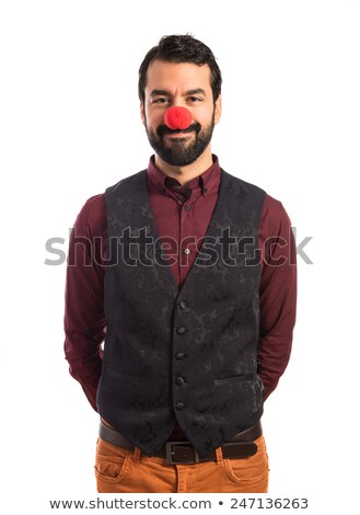 young bearded man with red clown nose Stock photo © feedough