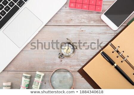 Bankbiljet zak notebook voorraad foto witte Stockfoto © nalinratphi