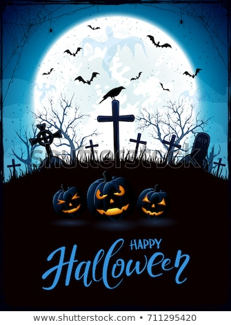 Grungy Halloween Background with Moon and Ghosts Stock photo © WaD