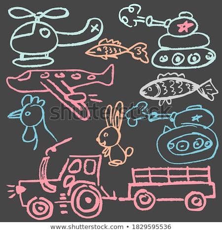 Helikopter ikon rajzolt kréta kézzel rajzolt iskolatábla Stock fotó © RAStudio