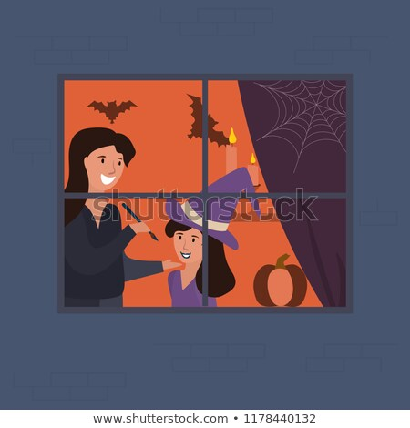 Pretty woman and her daughter in Halloween makeup Stock photo © ozgur