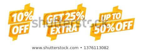 Mentés 25 százalék arany vektor ikon Stock fotó © rizwanali3d