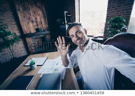 Macho vent laptop computer man gelukkig Stockfoto © zurijeta