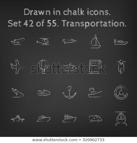 Motorcsónak rajzolt kréta ikon kézzel rajzolt vektor Stock fotó © RAStudio