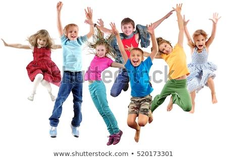 子供 · ジャンプ · 高い · アップ · 子 · トランポリン - ストックフォト © zurijeta