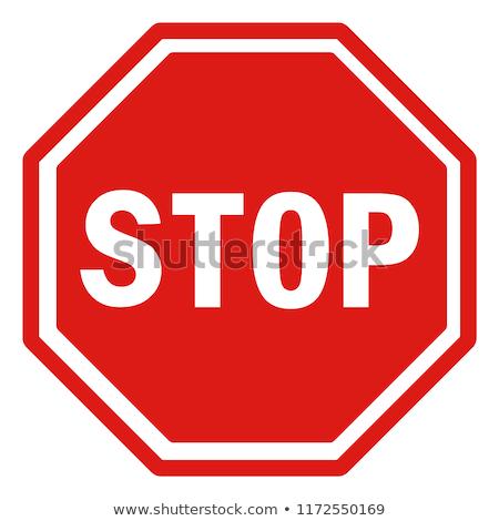 Típico sinal de parada ilustração estrada metal cor Foto stock © magann