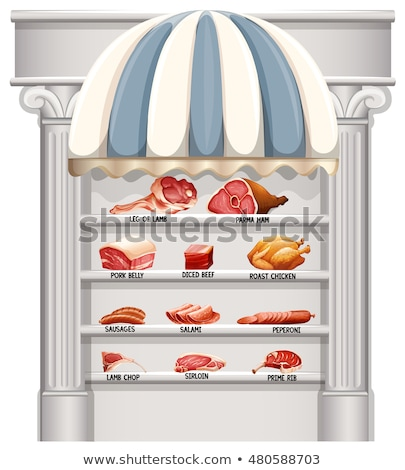 Shelves full of different kinds of meat Stock photo © bluering