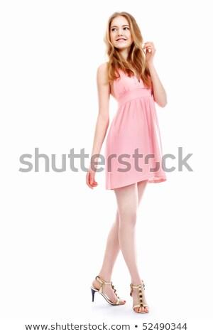 genç · kadın · pembe · elbise · yalıtılmış · beyaz · genç - stok fotoğraf © elnur