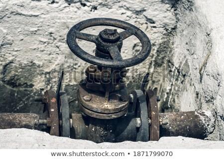 Large wheel valve with danger Stock photo © njnightsky