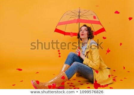 Cute brunette posant pluie femme nude Photo stock © konradbak