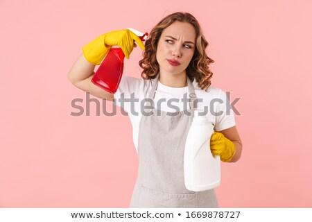 Fiatal nő szivacs spray izolált ablak közelkép Stock fotó © julenochek