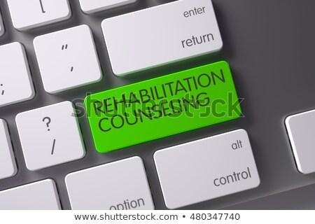 keyboard with green keypad   psychological adaptation 3d illustration stock photo © tashatuvango
