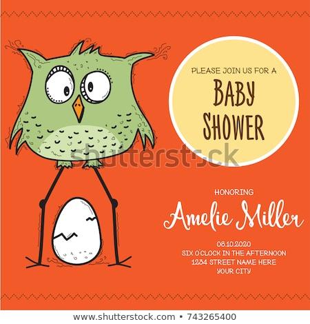 Bebek duş kart şablon komik karalama Stok fotoğraf © balasoiu