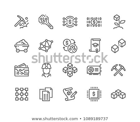 Bitcoin wydobycie ikona nowoczesne komputera sieci Zdjęcia stock © WaD