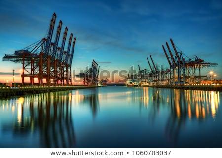Przemysłowych portu noc statku handlowych świetle Zdjęcia stock © joyr
