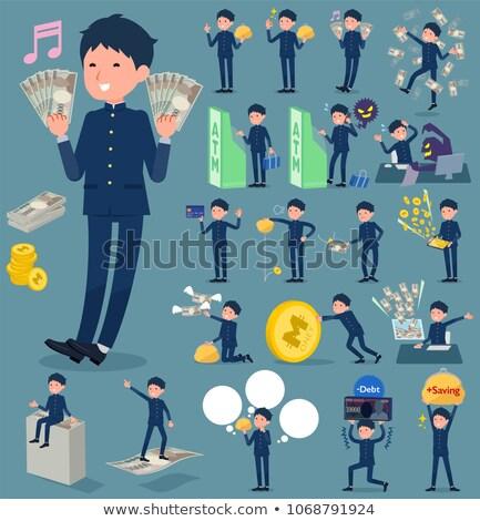 Iskolás fiú pénz szett különböző vásárlás diákok Stock fotó © toyotoyo