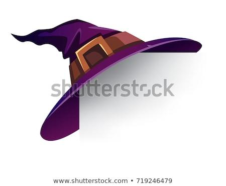 ハロウィン ベクトル 紫色 魔女の帽子 孤立した 漫画 ストックフォト © TasiPas