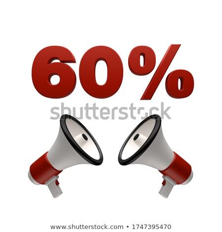 Stockfoto: 60 · procent · teken · megafoon · 3D