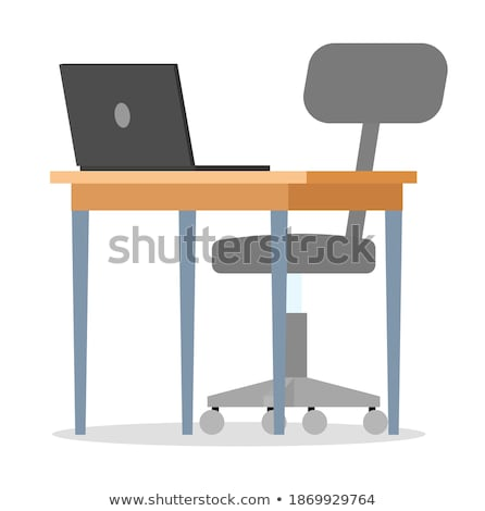 Empty Workplace with Table, Plastic Chair, Laptop Stock photo © robuart