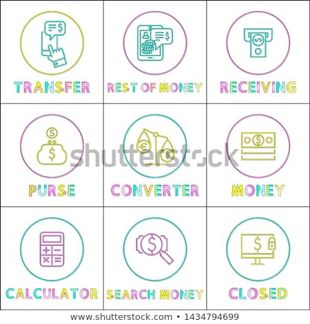 Operation with Money Online Linear Bright Icons Stock photo © robuart