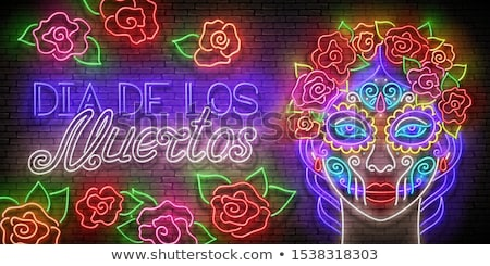 day of the dead neon icons stock photo © anna_leni