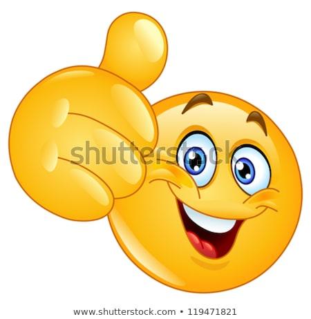 Teken emoticon tonen glimlach man Stockfoto © yayayoyo