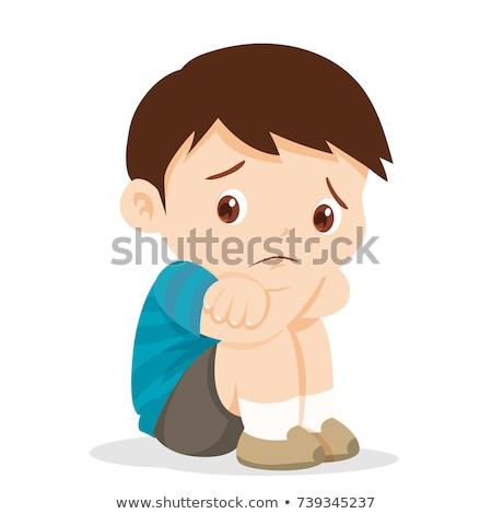 Gyerek fiú sír illusztráció iskola táska Stock fotó © lenm