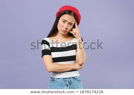Portrait confondre jeune femme béret permanent Photo stock © deandrobot