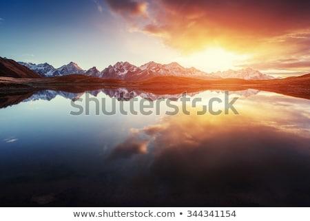 Paysage montagne lac Géorgie nuages réflexion Photo stock © Kotenko