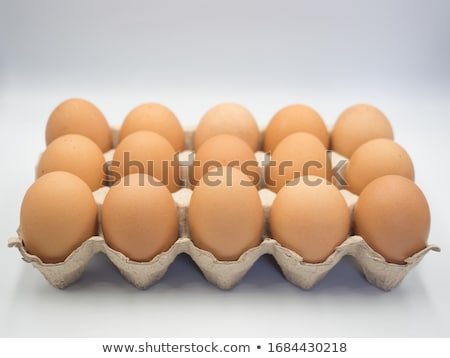 Chickens and eggs in carton box Stock photo © colematt