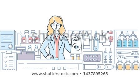 Pharmacy - modern line design style web banner Stock photo © Decorwithme