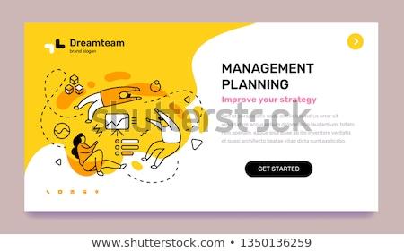 Prazo de entrega aterrissagem página ocupado pessoas de negócios laptops Foto stock © RAStudio
