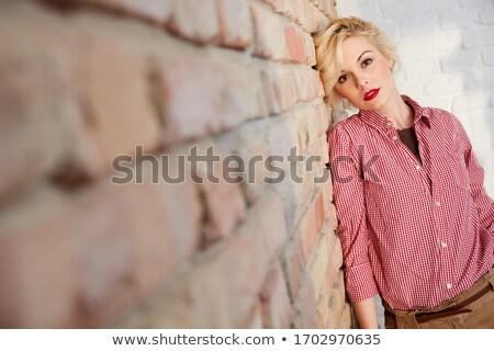 портрет 20-х годов Постоянный кирпичная стена Сток-фото © deandrobot