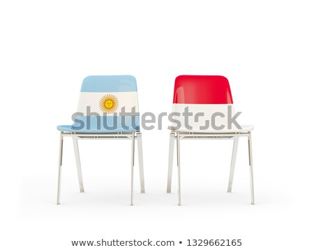 Two chairs with flags of Indonesia and argentina Stock photo © MikhailMishchenko