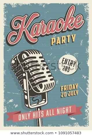 Karaoke Poster Vector. Retro Concert. Karaoke Club Background. Mic Design. Creative Layout. Audio El Stock photo © pikepicture