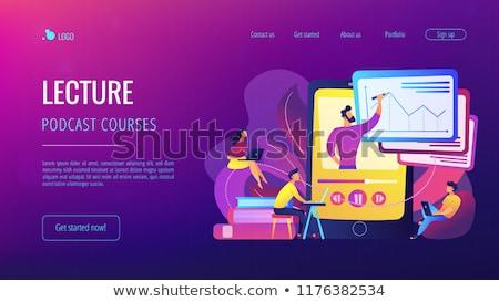 Landing pagina studenten kijken college hoogleraar Stockfoto © RAStudio