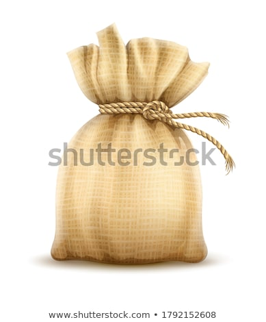 Full sack tied with rope knot. Textile tare Stock photo © LoopAll