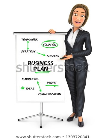 3d business woman writing business plan on paperboard Stock photo © 3dmask