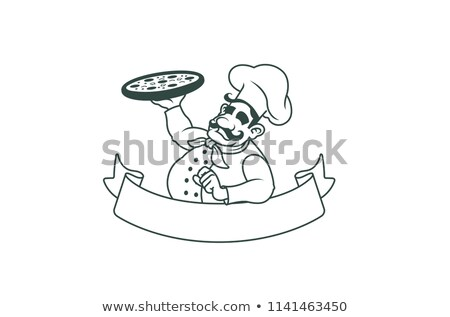 Chef Cheese Cartoon Character Holding A Pizza Stock photo © hittoon