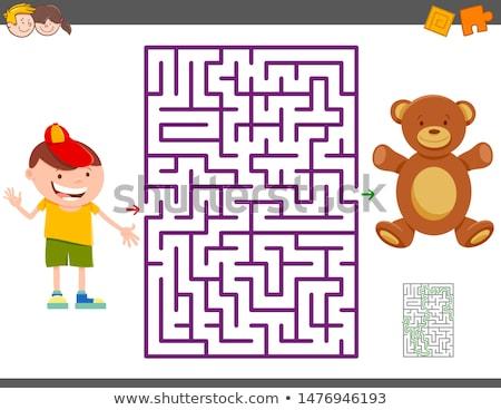 Doolhof spel cartoon jongen teddybeer illustratie Stockfoto © izakowski