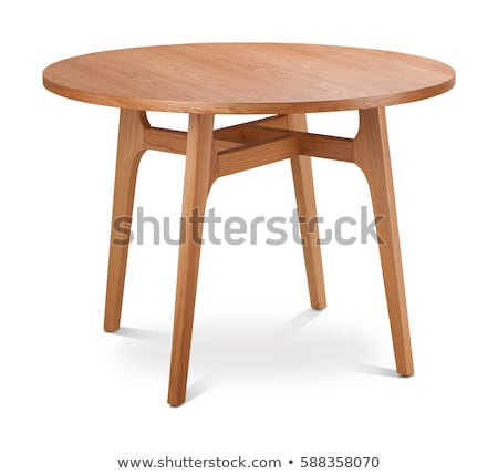 Stock photo: Wooden Chairs and Round Tables Isolated on White