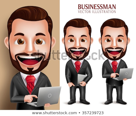 3d businessman standing and holding laptop stock photo © 3dmask