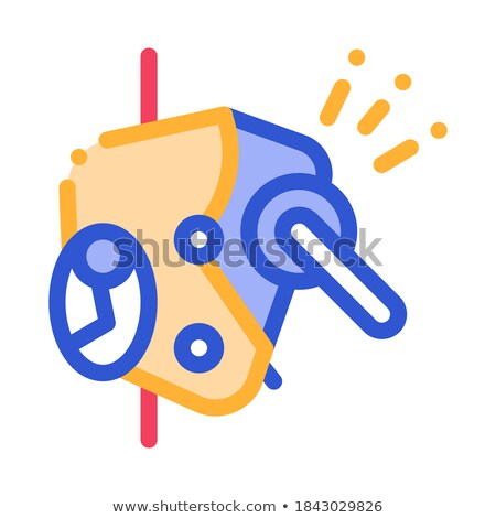 металлический защиту механизм вектора икона тонкий Сток-фото © pikepicture