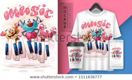 Cute crazy monster - mockup for your idea Stock photo © rwgusev