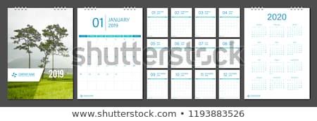 Year 2020 Calendar or planner grid . Green Blue background. Vector illustration. Stock photo © kyryloff